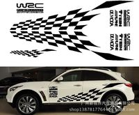 Sport Race Stripes Checkered Flag Vinyl Car Truck Body Sticker Side Hood Decal Free Shipping Whole