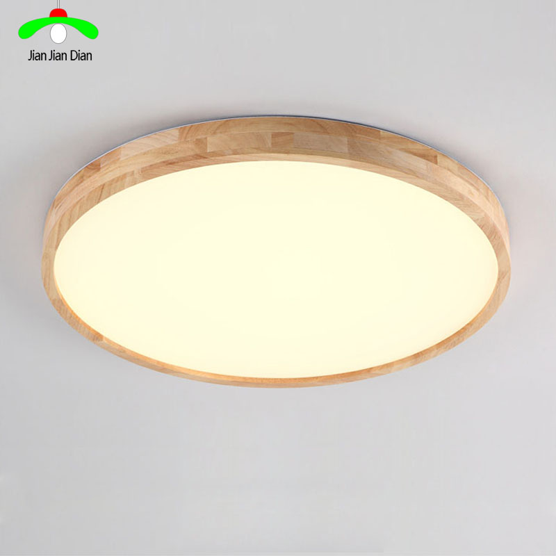 Wooden LED Ceiling Lights Round Wood Ceiling Fixture Thin Model Bedroom Lighting
