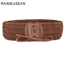 RAINIE SEAN Wide Ladies Belt Leather Elastic Corset Women For Dresses Brown Self Tie Cummerbunds
