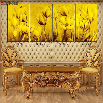 CLSTROSE 4 Pcs Canvas Decoracion Painting Modern Wall Art Flower Canvas Painting For Living Room Kitchen Home Decor Pictures