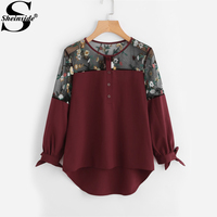 Sheinside Floral Embroidered Lace Panel High Low Tie Cuff Blouse 2017 Round Neck Patchwork Long Sleeve