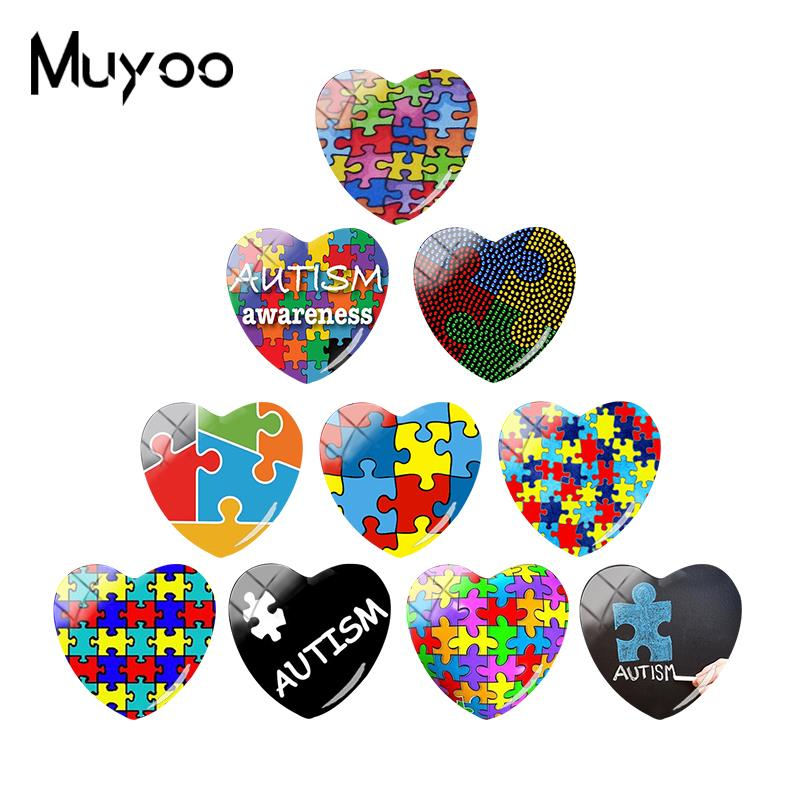 2018 New Autism Awareness Puzzle Heart Cabochon Glass Cabochons Art Hand Craft Jewelry(China)