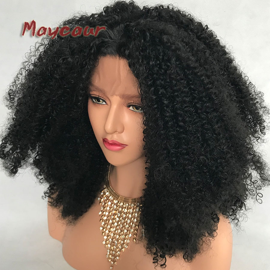 Afro Curly Wig Heavy Density Syntetisk Spets Fram Paryk För Svarta - Syntetiskt hår - Foto 3