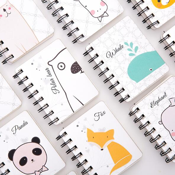 1 Piece Creative Kawaii Animal Pocket Coil Blank Spiral Journal Notebook Dairy Memo Small Sketch Book To Do It Study Planner