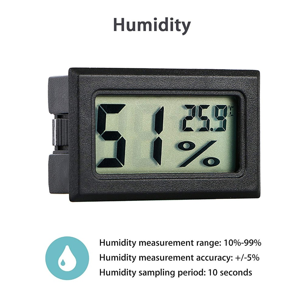 Mini Black Digital LCD Temperature Humidity Indoor Room Humidity Meter Thermometer Hygrometer Temperature Sensor Humidity
