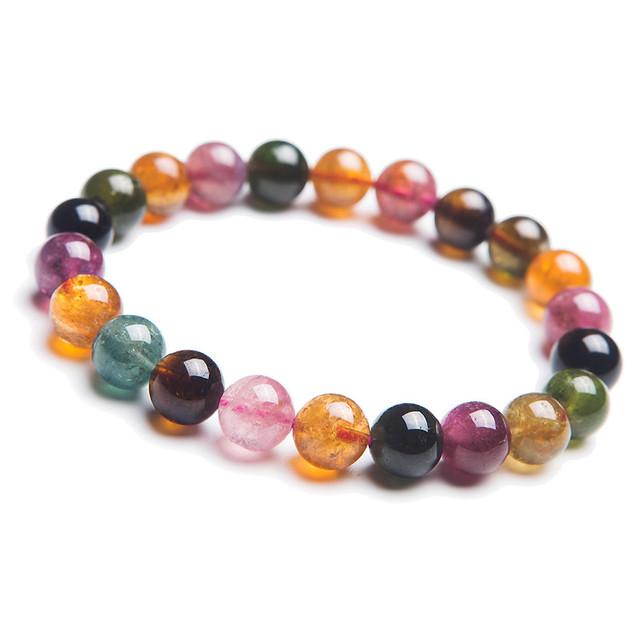 Um único 8mm Genuine Natural Colorido Turmalina Cristal de Quartzo Rodada Jóia Beads Estiramento Pulseiras Femme