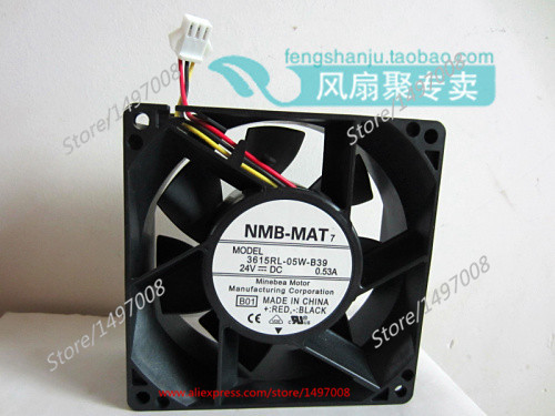 NMB 3615RL-05W-B39, B01 DC 24V 0.53A, 90x90x38mm 3-wire 3-pin connector 50mm Server Square cooling fan genuine spare parts abb acs800 90 90 38mm 24v 0 32a 2 line waterproof fan pq1 3615 kl 05w b50
