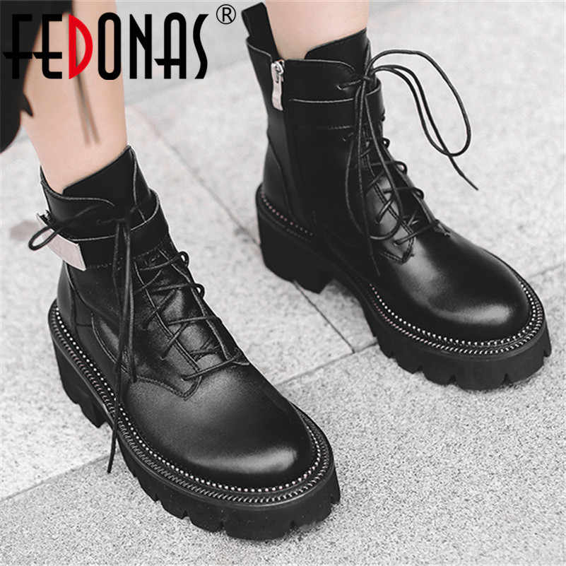 FEDONAS Punk Women Ankle Boots 2020 Autumn Winter Quality Genuine Leather Short Boots Zipper Motorcycle Boots Party Shoes Woman