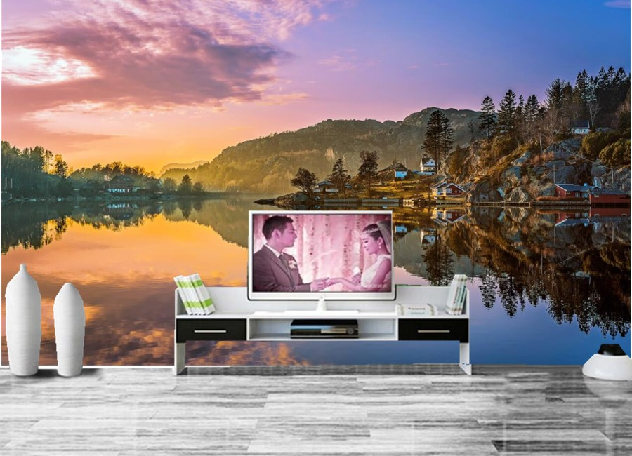 Custom norway lake mountains scenery nature photo mural for Nature wallpaper for living room