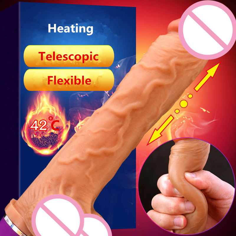Soft Silicone Vibrating Dildo Realistic Big Penis Heating Automatic Telescopic Dildo Vibrator Sex Toys for Women