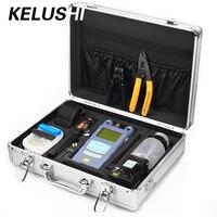 KELUSHI 23 IN 1 Fiber Optic FTTH Tool Kit ceramic core 10mW/ Visual Fault Locator and Fiber Cleaver HS 30 optical power meter