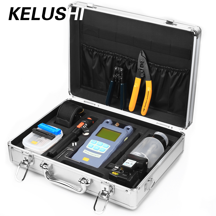 KELUSHI 23 IN 1 Fiber Optic FTTH Tool Kit ceramic core 10mW/ Visual Fault Locator and Fiber Cleaver HS 30 optical power meter