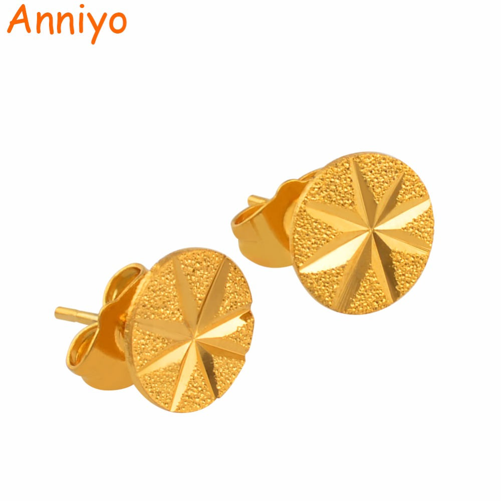 Anniyo Round Small Earrings Stud for Girls Women Gold Color Mini Earring Jewelry Gifts #137706