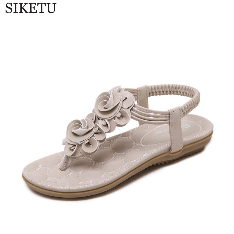 SIKETU Women Shoes Bohemia Style Ankle-strap Flip Flops Summer Flat Shoes Woman Ladies Shoes Women Sandals Sandalias Mujer k32 summer style ankle tie flat sandals crosscriss rome boho gladiator sandals women flip flops casual shoes woman sandalias mujer