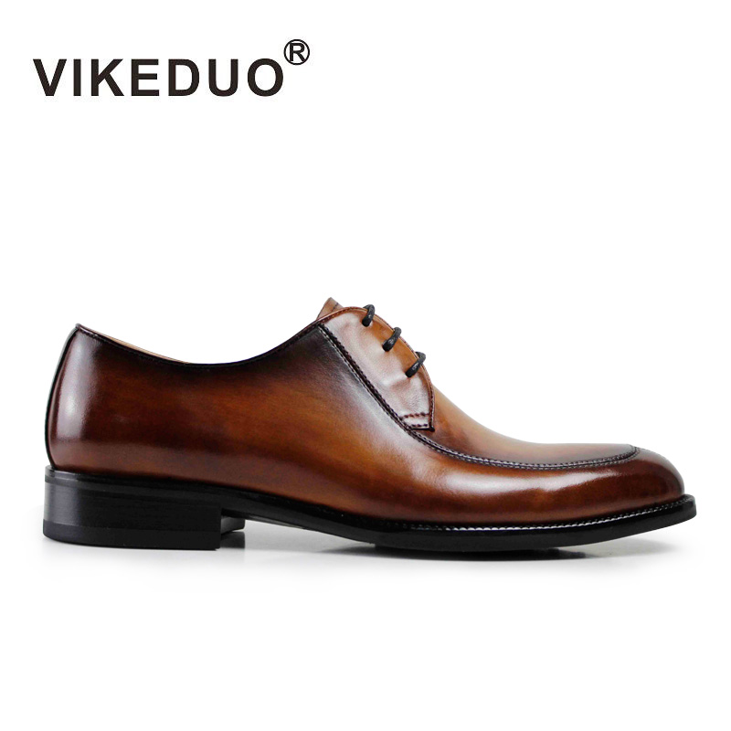 VIKEDUO Luxury Brand Vintage Retro Handmade Mens Derby Shoes Brown Fashion Italy Design Wedding Party Shoes Genuine Leather vikeduo luxury brand vintage retro handmade mens derby shoes brown fashion italy design wedding party shoes genuine leather