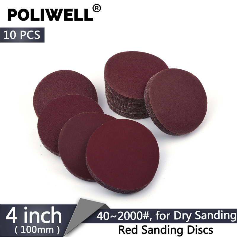 POLIWELL 10PCS 4 Inch 100mm Red Dry Sanding Discs Sandpaper Grit 40~2000 Flocking Back Sanding Paper Auto Furniture Polishing