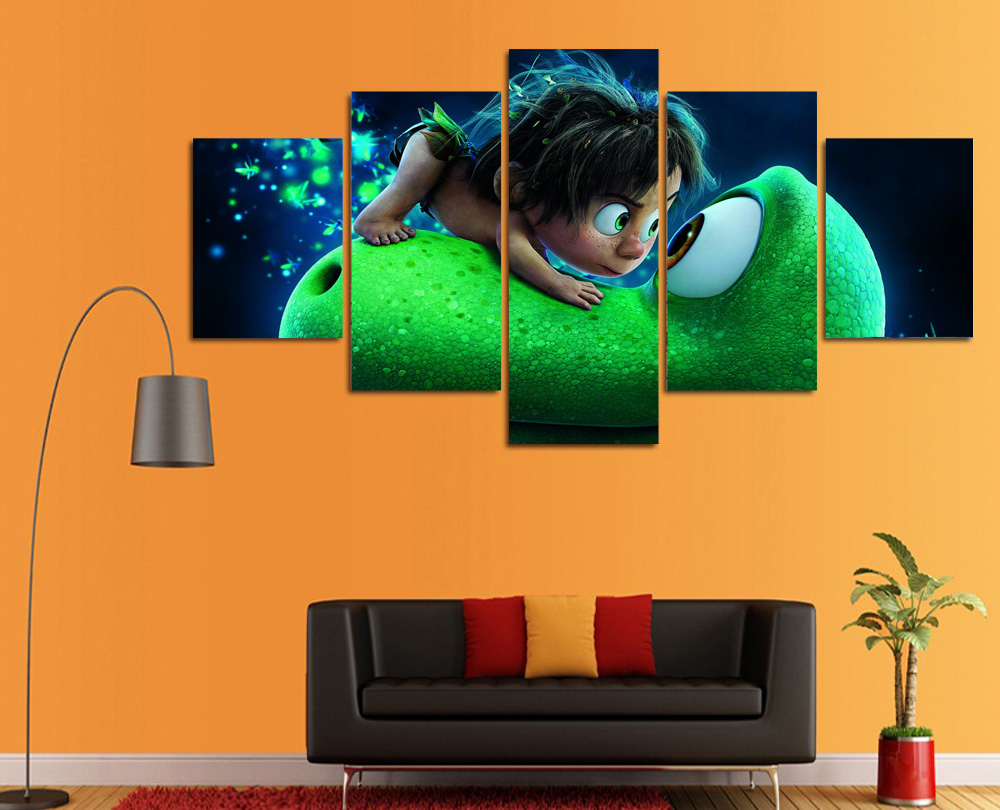HD Printed Cartoon Canvas Painting The Good Dinosaur Wall Art Pictures For Living Room Unframed 5 Pcs Modular In Calligraphy From