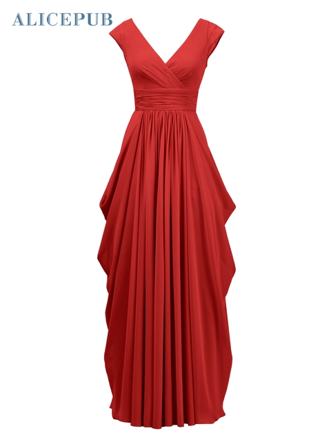 56a8e68c5 Alicepub V-Neck Bridesmaid Dresses A-Line Long Chiffon Sexy Wedding Dress  Party Gowns Coral/Pink/Purple/Navy Blue Free Shipping