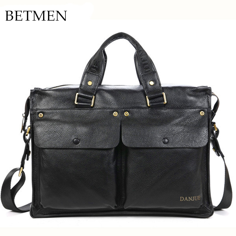 2015 fashion brand handbag business genuine leather bag vintage men messenger bags leather briefcase laptop bag men travel bags