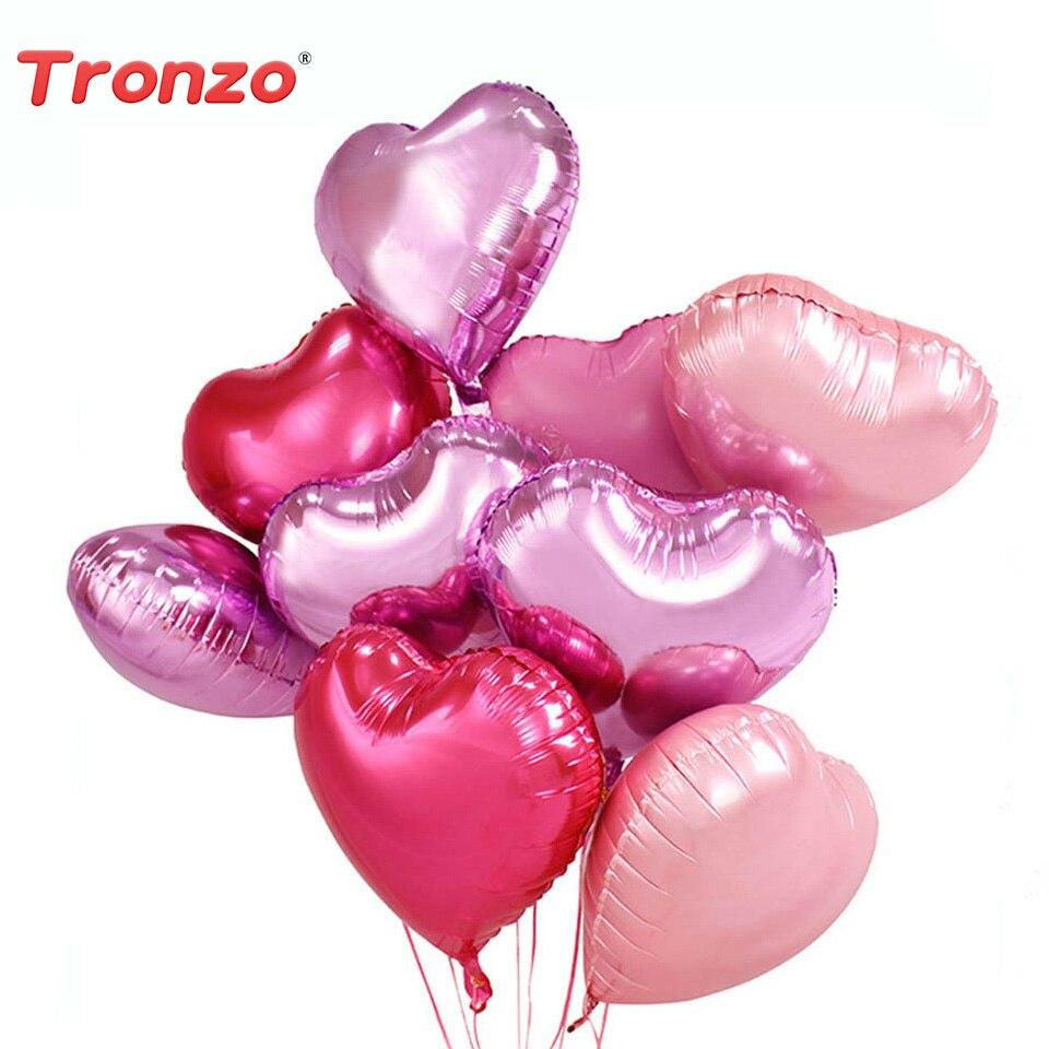 Tronzo  Wedding Party Balloons 50pcs Heart 10inch Aluminium Foil Pink Love Heart Party Balloons Wedding Birthday Party Supplies