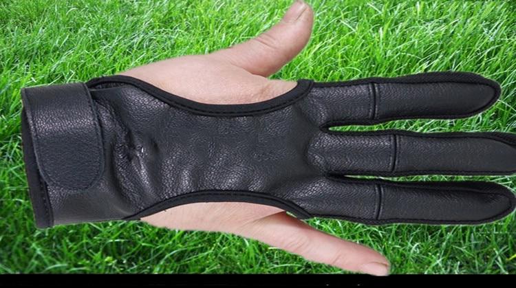 Protecção das Mãos Luvas de Dedo de Couro em Preto de Alta Luvas de Proteção de Arco e Flecha para a Caça de Tiro Popular Nova Elástica 3