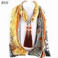 Winter Silk Scarf Women Necklace with Tassels Women's Shawls and Scarves Tassel Beads Pendant Scarfs Bufandas Mujer