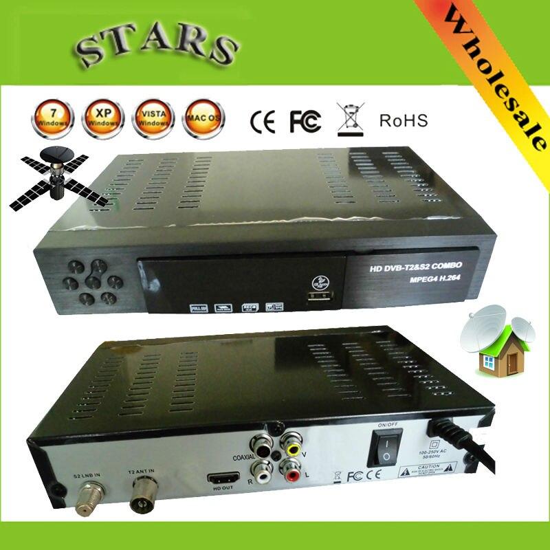 Digital Terrestre Receptor de TV Por Satélite dvb t2 Combo + S2 HD 1080 P Caixa de tv dvb-s2 dvb-t2 H.264/MPEG-2/4 para A Rússia Europa