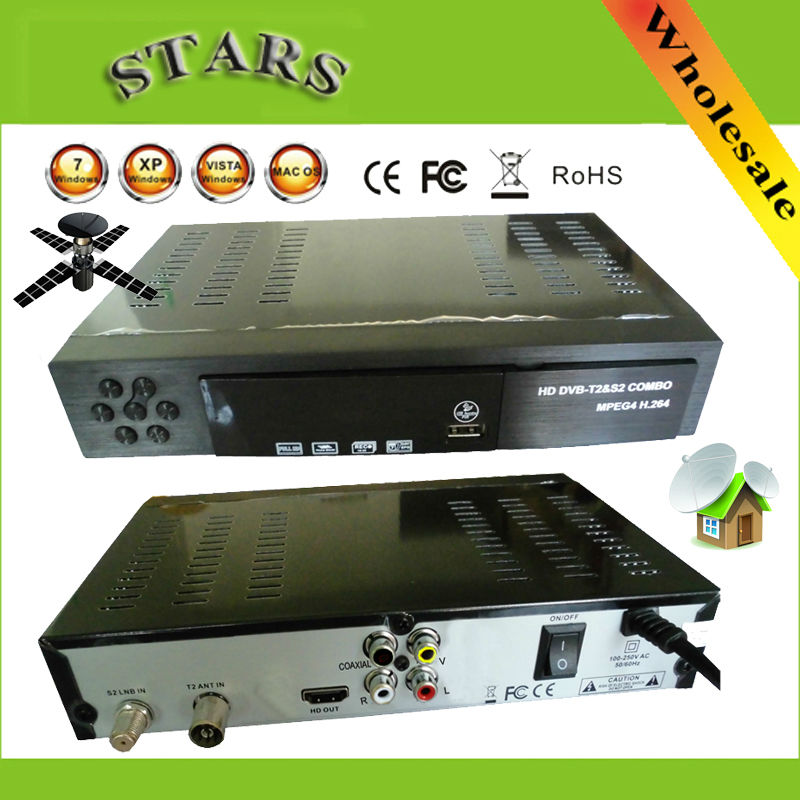 Digital Terrestrial Satellite TV Receiver Combo dvb t2 + S2 HD 1080P dvb-t2 dvb-s2 tv Box H.264 / MPEG-2/4 for Russia Europe