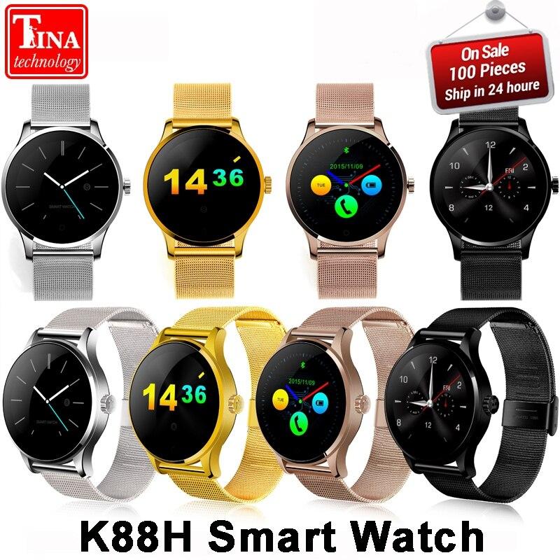 K88H Смарт часы 1,22 дюймов ips круглый Экран Поддержка сердечного ритма Sport Bluetooth SmartWatch для IOS андроид