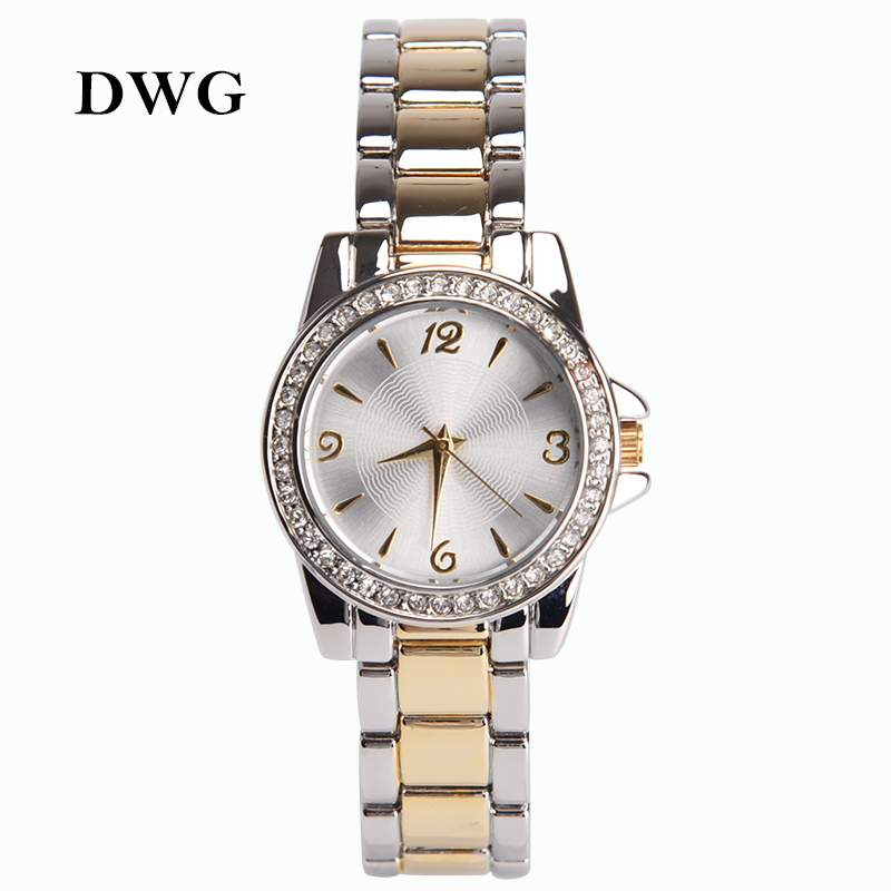 Supper Thin Two Tone Silver Gold Analog Quartz Watch Stainless Steel Bracelet Ladies Wrist Watches Crystals