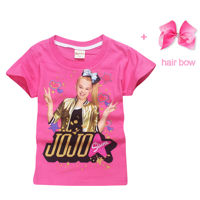 4 12Y 2018 Summer Jojo Siwa Princess Birthday Party Costume Short Sleeve T Shirts Hair Bow Floral Girls Clothing Big Girl Tops