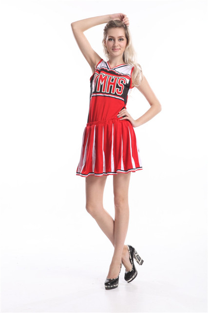 Free Shipping Ladies School Girl Full Outfits Fancy Dress Uniform Without Pom Pon Glee Cheerleader Costume