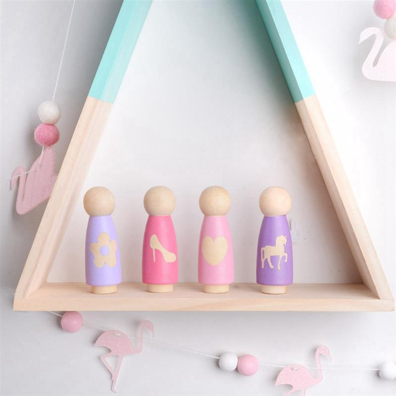 New Carving Unicorn Crown Heart Dolls Ornament Wooden Puppet Crafts Desktop Home Decoration Kids Toy Gift Photography Prop