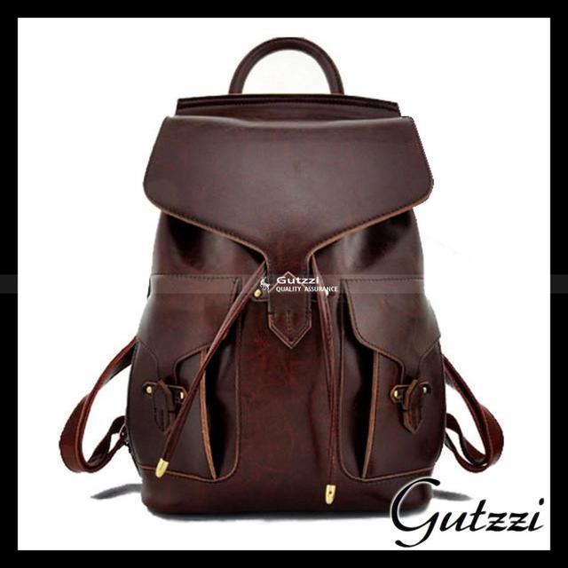 104f1f21f7 Dark Brown Quality genuine leather backpack Cowhide backpack fashion  women s Bookbag Travel Rucksack Vintage School bag