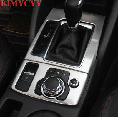 BJMYCYY Car stainless steel Inner Gear Shift Box Panel Cover Trim For LHD Mazdas CX-5 CX5 2017 2018 for mazda cx 5 cx5 2017 2018 2nd gen lhd auto at gear panel stainless steel decoration car covers car stickers car styling