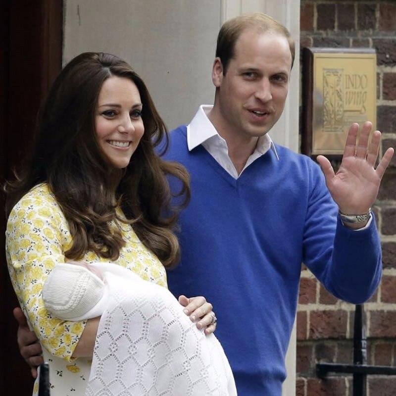 2019 Kate Middleton princesse jaune fleur imprimé robe élégante o-cou robes décontractées avec ceinture 888