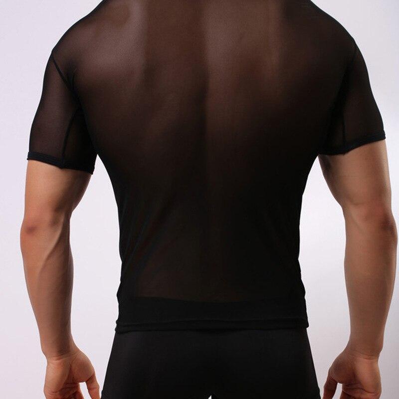 Fashion Brand 2017 Men Sexy gauze Sheer Bodysuit Undershirt/Man Spandex Lycra Transparent breathable T-shirt men vest