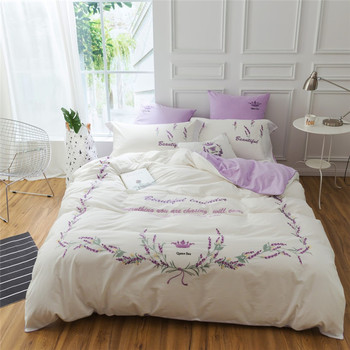 Luxury 100% wadhed cotton Clover heart-shaped embroider bedding set white duvet cover fitted sheet pillowcase 4/7pcs