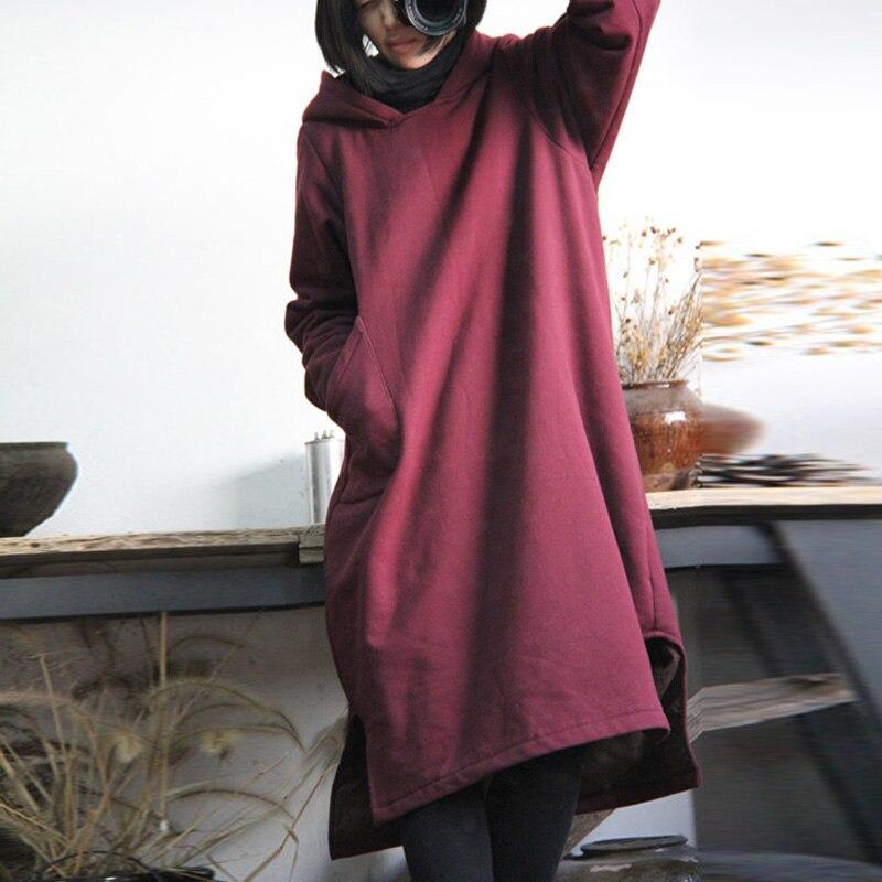 SCUWLINEN 2019 Podzimní zimní šaty Ročník Bavlněný fleecový svetr Zahušťování s kapucí All-match volné šaty Ženy Neformální Robe W16