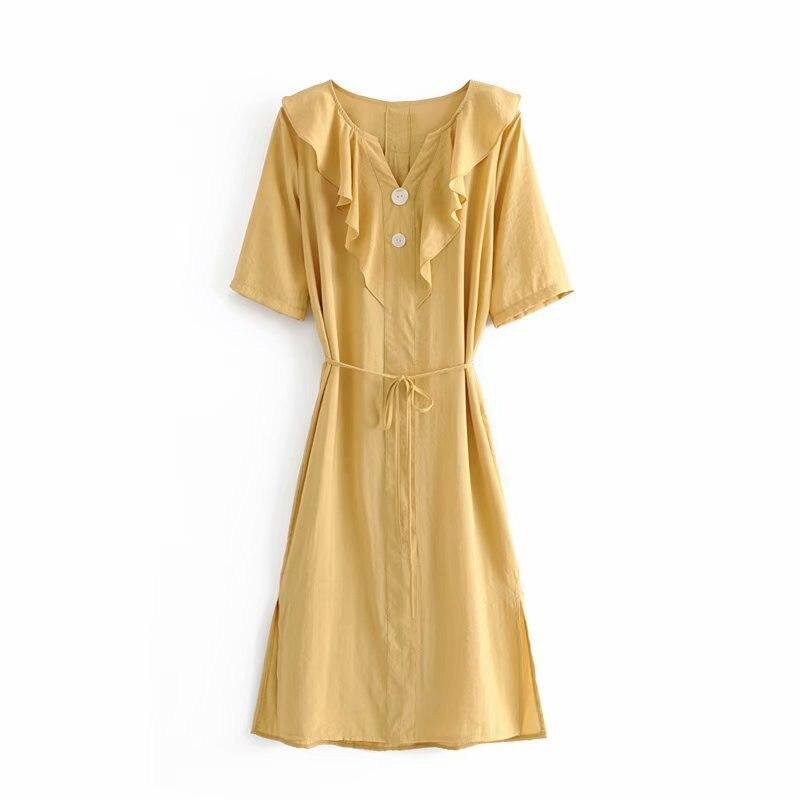 Robe drapée femmes décontracté solide court Slim été profond col en v chemise robe mode plage cheville-longueur bride robes