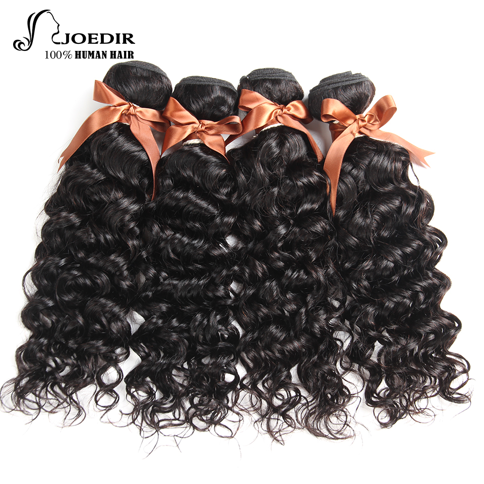 Peruvian Water Wave Bundles Joedir 100% Human Hair 4 Bundles Weave Non Remy Hair Extensions Natural Color Free Shipping