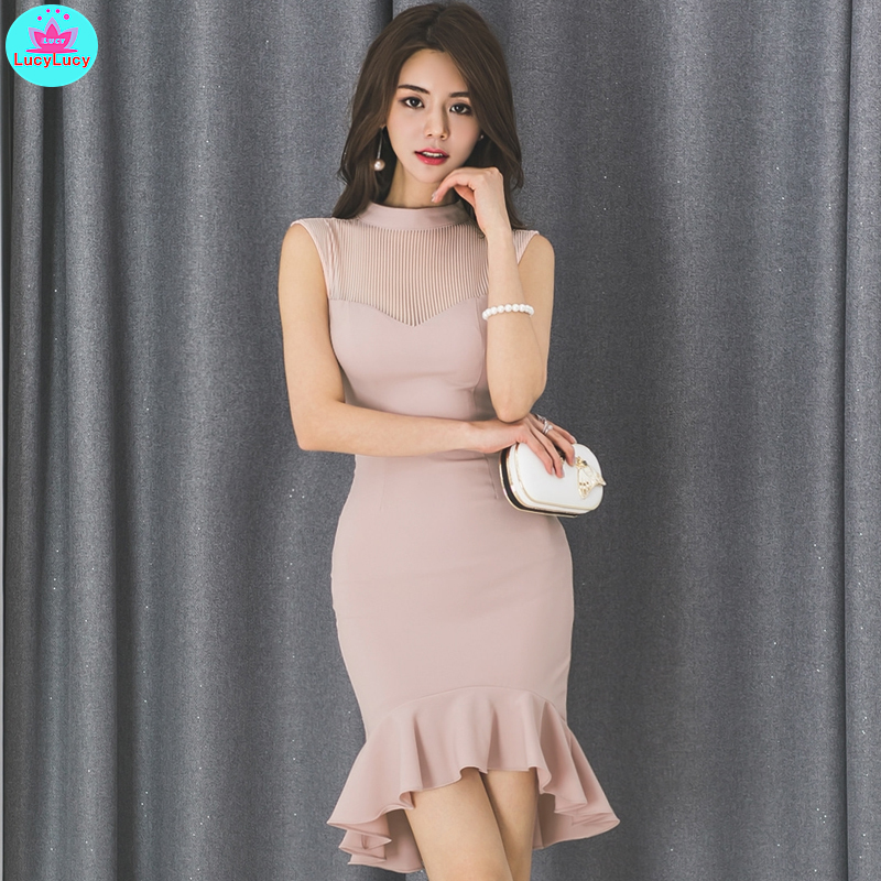 2019 summer Korean fashion ladies temperament skinny slimming sole slimming fishtail stand collar dress Knee-Length Empire Price $26.00