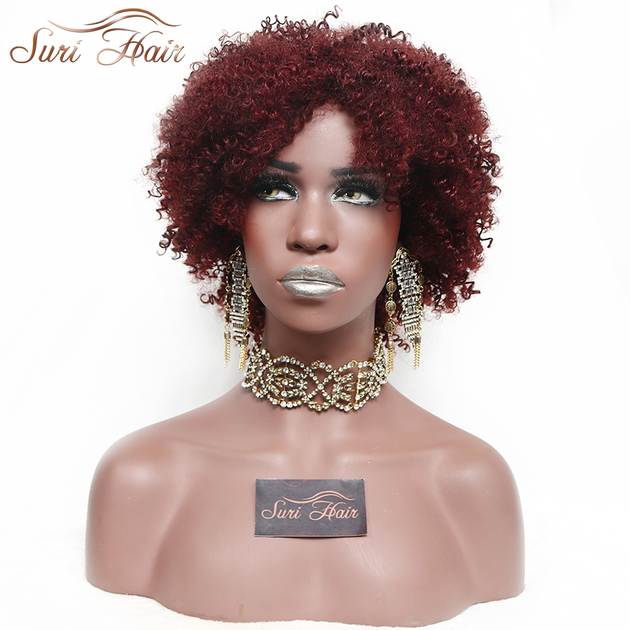 """Suri Hair 10 """"Afro Kinky CurlySynthetic Burgundy Short Hair Wig För Kvinnor Hög Temperatur Fiber Afroamerikanska Paryk"""