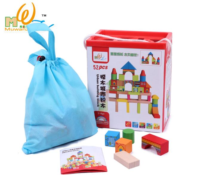 цена на Free shipping 52PCS Beechwood blocks, city building block wooden toys, Models & Building Toy gift boxes to send receive bag
