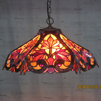 16inch Tiffany Red maple leaf Stained Glass Suspended Luminaire E27 110 240V Pendant lights for Home Parlor Dining bed Room