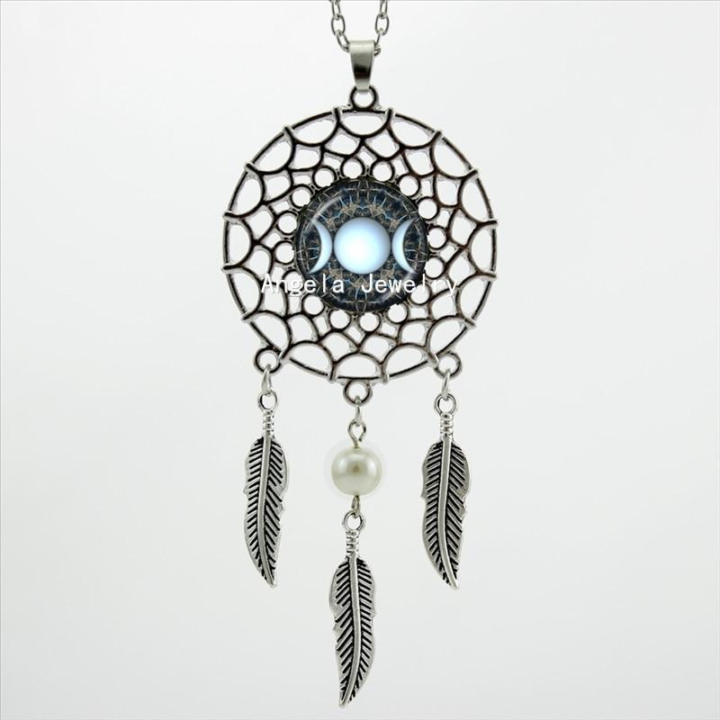 HZShinling Trendy Style Triple Moon Goddess Necklace Dreamcatcher Pendant Moon Goddess Jewelry Dream Catcher Necklace DC-00322