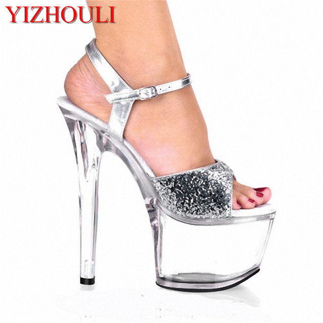 ... fashion 7 inch high heeled shoes wedding shoes silver glitter crystal  shoes 17cm ultra high ... cfb10810b088