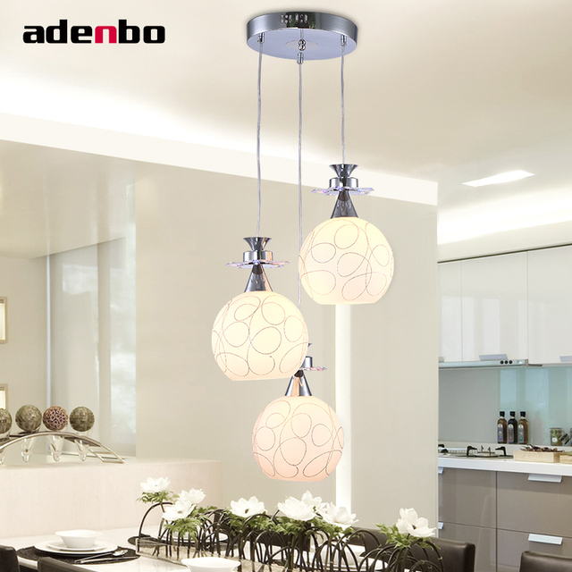 Modern led pendant lights cord pendant round glass shade hanging light fixture for dining room and