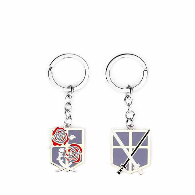 Anime Attack On Titan Alloy Pendent Keychain Enamel Wing Rose Unicorn Fencing Pattern Keyring Key Chain Ring Cool Movie Jewelry