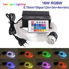 16 واط rgbw 0.75 ملليمتر * 50 قطع * (2 متر + 3 متر + 4 متر + 5 متر) الصمام ضوء الألياف البصرية سقف نجمة عدة الإضاءة الضوئية محرك + الكريستال + rf البعيد 24key